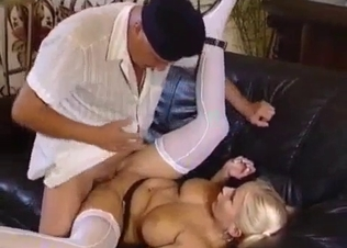 Busty and tanned blonde fucks her creepy father