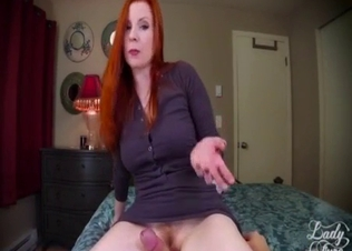 Redhead mommy sucking son's cock in POV