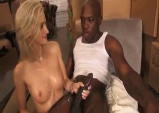 Energetic blonde blacked by her new step-daddy