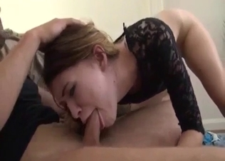 Black get-up brunette chokes on her brother's cock