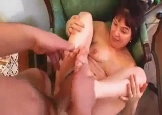 Hairy pussy MILF fucked by her hung son on cam