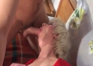 Lady in red seducing her cute son