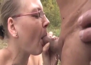 Ugly mature lady fucks her brother outdoors